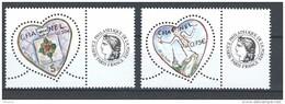 """FR Personnalisés YT 3632A & 3633A """" Coeur Chanel - Cérès """" 2004 Neuf** - Personalized Stamps"""