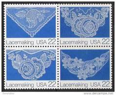 US  1987 Sc#2354a   22c Lacemaking Block Of 4 Diff MNH - Etats-Unis