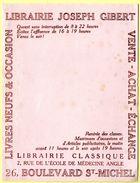Buvard Librairie Joseph Gibert, Livres Neufs Et D'occasion Paris. - Stationeries (flat Articles)