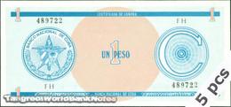 TWN - CUBA FX11 - 1 Peso 1985 DEALERS LOT X 5 - Prefix FH UNC - Cuba