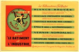 Buvard Norcolor, Peinture Et Vernis Pour L'industrie. Ronchin. Tampon Entrepots De Paris, Bd Lafayette. - Peintures