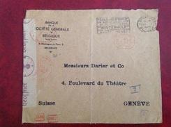 EMA  Banque   Société Générale Bruxelles  Pour Genève Censure  39 45 WWII - Postmark Collection