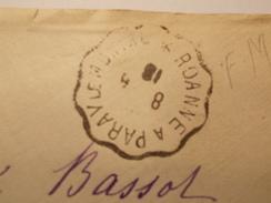 Marcophilie  Cachet Lettre Obliteration - Timbre -  Convoyeur Roanne à Paray Le Monial - 1918 - (1522) - 1877-1920: Semi-Moderne