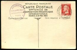 LETTRE - ENTIER POSTAL N°174-CP1 - Expostion Philatélique De PARIS 1925 Oblitéré Non Circulé - TB - Postal Stamped Stationery