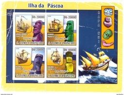 SAO TOME E PRINCIPE 2008 SHEET EASTER ISLAND SHIPS BOATS BARCOS ISLA DE PASCUA St8610a - Sao Tome And Principe