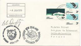 LETTRE 1979 AVEC 3 TIMBRES, DIFFERENTS CACHETS ET SIGNATURE - Dépendance De Ross (Nouvelle Zélande)