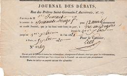 """1820 - Abonnement Au """"JOURNAL DES DEBATS"""" - PARIS Rue Des Prêtres Saint-Germain-l'Auxerrois - Documents Historiques"""