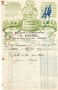 Evreux (27): 3 Papiers :Epiceries ENFER 1896 Et 1904; AVENEL 1905 (illustration De AMIEUX Frères) - France