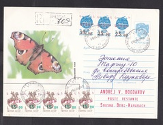 Armenia-Nagorno Karabakh: Stationery USSR Cover, 1993, 8 USSR Stamps With Local Overprint, Rare Real Use (traces Of Use) - Armenië