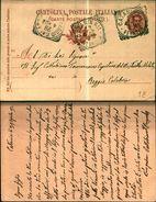 7596a)cart.post.umberto I 10cent. Da  Catania A Reggio Calabria M/901 - 1878-00 Umberto I