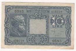 ITALIA-BIGLIETTO-DI-STATO-A-CORSO-LEGALE-VALE-DIECI-LIRE - [ 1] …-1946 : Kingdom