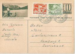 """PK 182  """"Gstaad - Sportfischerei Im Arnensee""""  Cazis - Hamburg            1956 - Interi Postali"""