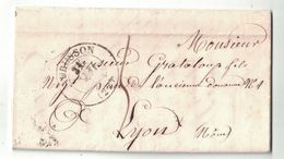 1848 - LAC Avec GRAND CAD De AUBUSSON CREUSE (TYPE 13) Pour LYON Avec TAXE MANUSCRITE De PORT DU - Postmark Collection (Covers)