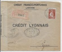 PORTUGAL - 1916 - PERFORE De BANQUE (PERFIN) SEUL Sur LETTRE RECOMMANDEE De LISBONNE => LYON Avec CENSURE - Lettres & Documents