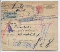 SERBIE - 1901 - RARE CARTE ENTIER COLIS POSTAUX De BELGRADE => HAMBURG (GERMANY) Avec ETIQUETTE De DOUANE - Serbie
