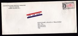 Turks & Caicos Islands: Airmail Cover To USA, 1 Stamp, Flamingo, Queen, Air Label (traces Of Use) - Turks- En Caicoseilanden
