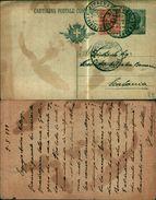 7618a)cart.post  V.Emanuele III15+10cent.CON RISPOSTA Da  ACIREALE A Catania  2-5-22 - 1878-00 Umberto I