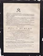 NIVELLES IXELLES Jules De BURLET Bourgmestre Député Ministre Veuf VAN PUT époux VERHAEGEN 1844-1897 Faire-part - Todesanzeige