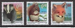 Bosnia Serbia 2009 Fauna, Badger, Squirrel, Fox, GLAS Printing Definitive Set MNH - Bosnie-Herzegovine