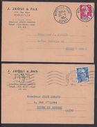 """FR - 1954-57 - Deux Cartes Commerciale '""""Ets. J. Jaoui & Fils Marseille"""" - B/TB - - Francia"""