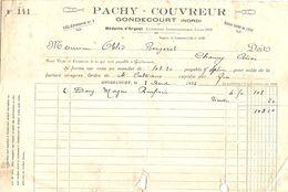 FACTURE 1924 PACHY COUVREUR GONDECOURT NORD - MÉDAILLE D'ARGENT EXPOSITION INTERNATIONALE LILLE 1902 - Otros