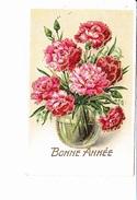 BONNE ANNEE, Roses En Vase Bocal, Paillettes, Ed. Fox Luxe 1948 - Nouvel An