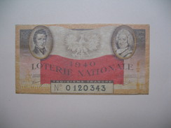 Billet De La Loterie Nationale  Année 1940  3 ème Tranche  TTB - Lottery Tickets