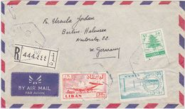 """FRANCE LEBANON 1960 REG.AIRMAIL COVER PM """"Ablah"""" (Via ZAHLE, BEYROUTH) TO GERMANY - France"""