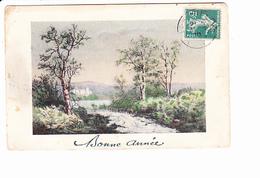 BONNE ANNEE, Paysage De Campagne, Rivière, Ed. I.H. Paris 1910 - Nouvel An