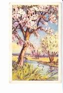 BONNE ANNEE, Pommiers En Fleurs, Paillettes, Bord De Rivière, Ed. SSS 1930 Environ - Nouvel An