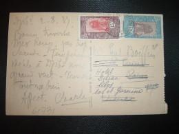 CP DJIBOUTI PALAIS DU GOUVERNEUR TP 40 + 15 OBL.2 AOU 37 DJIBOUTI - Lettres & Documents