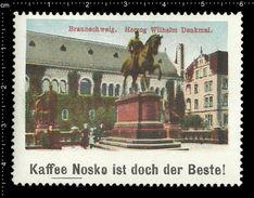 German Poster Stamps, Reklamemarke, Cinderellas, City View, Stadtblick, Braunschweig, Herzog Wilhelm Denkmal, Monument - Monumenti