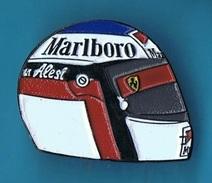 PIN'S //  ** CASQUE ** JEAN ALESI  ** 91 ** FERRARI ** N°27 ** MARLBORO ** - Car Racing - F1