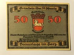 Allemagne Notgeld Braunlage 50 Pfennig - [ 3] 1918-1933 : Weimar Republic