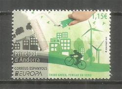ANDORRA ESPAÑOL. EUROPA 2016. THINK GREEN / PENSAR EN VERD ! Electricité. TIMBRE Neuf ** - Europa-CEPT