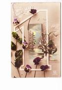 """BONNE ANNEE, Chiffre """"1"""", Pensées, Houx, Paysage De Neige, Ed. Dix 1919 - Nouvel An"""