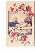 BONNE ANNEE, Paysage De Bord De Lac Gelé, Hameau, Oeillets, Ed. ? 1954 - Nouvel An