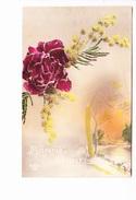 BONNE ANNEE, Paysage De Campagne Sous La Neige, Pivoine, Mimosa; Ed. Rex 1921 - Nouvel An