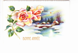 BONNE ANNEE, Paysage De Campagne Sous La Neige Le Soir, Hameau Illuminé, Lune, Rose,  Ed. M.D. 1955 - Nouvel An