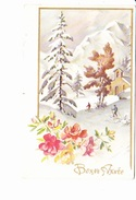 BONNE ANNEE, Skieurs Dans Un Paysage De Neige, église  Ed. Photochrom 1940 Environ - Nouvel An