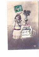 """BONNE ANNEE, """"Allo! Allo!"""" Grande Fille Au Téléphone, Roses, Ed. Rex 1910 Environ - Nouvel An"""