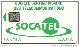 CARTE-PUCE-CENTRE AFRIQUE-120U-SC5-SOCATEL-VERT-N°Ge 43756-TBE - Centraal-Afrikaanse Republiek