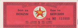 JUGOSLAWIEN  -  FUEL BON, BON FUR 5 LITER BENZIEN   /  JNA  ( YUGOSLAV ARMY ) -  1983 - Jugoslawien