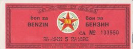 JUGOSLAWIEN  -  FUEL BON, BON FUR 5 LITER BENZIEN   /  JNA  ( YUGOSLAV ARMY ) -  1983 - Yugoslavia