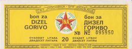 JUGOSLAWIEN  -  FUEL BON, BON FUR 20 LITER DIESEL   /  JNA  ( YUGOSLAV ARMY ) -  1983 - Jugoslawien