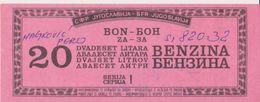 JUGOSLAWIEN   //  REPUBLIKA SRPSKA KRAJINA, GLINA   /  WAR PERIOD   -  FUEL BON, BON FUR 20 LITER BENZINE  -  1993 - Kroatien