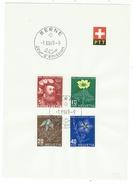 Suisse // Schweiz // Switzerland //  Pro-Juventute  // 1949 Série Complète Sur Feuillet PTT 1er Jour - Lettres & Documents