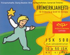 Iceland 2000 Booklet Of 10 Scott #910a 50k Stars, Children EUROPA Common Design - Carnets