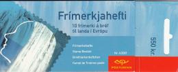 Iceland 2001 Booklet Of 10 Scott #937a 55k Head, Waterfall - EUROPA - Carnets