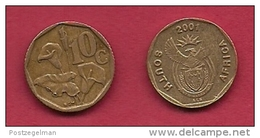 SOUTH AFRICA, 2001, 3 Off Nicely Used Coins 10 Cent C2115 - Zuid-Afrika